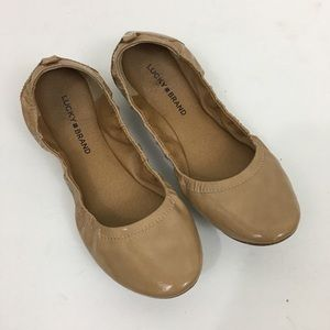 Lucky Brand Nude Leather Ballet Flats